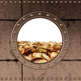 Porthole - pieniądze kosz - dolar monety Zdjęcia Stock