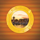 Porthole pier sunset Royalty Free Stock Image