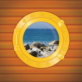 Porthole rocks and sea Stock Images