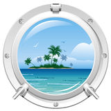 Porthole with sea view Royalty Free Stock Photography