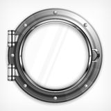 Porthole seascape on white Royalty Free Stock Image