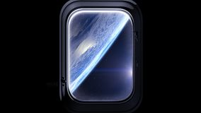 The porthole of a spaceship. Earth as seen through window of spaceship, Space, earth, orbit. 3D rendering. Nasa. Stock Photography