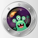 Porthole of the spaceship. View from rocket to alien. Vector illustration Stock Photo