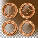 Brass Porthole Vector. Round Metal Window With Rivets. Bathyscaphe Ship Frame Design Element. For Laboratory, Aircraft Stock Photo