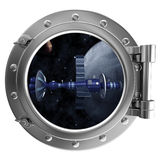 Porthole with a view of satellite Stock Images