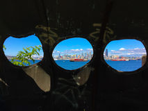 Seattle skyline viewed through Portholes Royalty Free Stock Photo