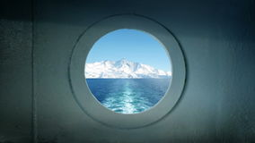 Porthole View Traveling In Arctic Ocean stock footage