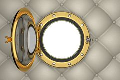 Porthole or window of the luxurious yacht. 3D illustration with some space for the background of your choice Stock Photo