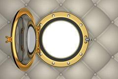 Porthole or window of the luxurious yacht Stock Photo