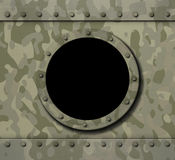 Porthole window on military metal background 3d illustration Stock Photo