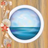 Porthole window with ocean scene Royalty Free Stock Photo