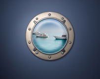 Porthole Yacht. View on Several Yacht on the sea from porthole Stock Photo