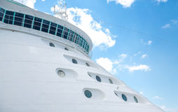 Portholes and Bridge on Bow of Cruise Ship. Cabins on Bow of Luxury Cruise Ship Stock Photo