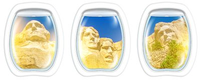 Portholes sunset on Mount Rushmore. Three porthole frame windows on Aerial view of Mount Rushmore National Memorial of United States of America at sunset. US stock images