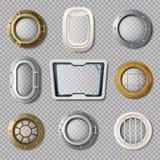 Portholes Of Various Shape Realistic Set. Realistic set of metal and plastic portholes of various shape on transparent background  vector illustration Royalty Free Stock Image