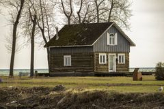 A Cabin Near The Banks Of The Lake stock images