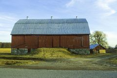 Barn In The Country Under Blue Skies stock photos