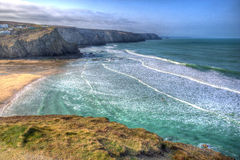 Porthtowan海滩和海岸在圣艾格尼丝康沃尔郡英国英国附近HDR的 库存图片