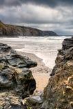 Porthtowan海滩 免版税图库摄影