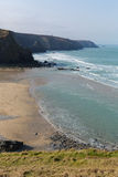 Porthtowan beach coastline Cornwall England UK Royalty Free Stock Images