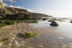 Porthtowan beach in cornwall uk England Royalty Free Stock Photos