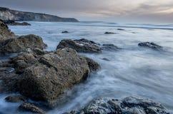 Porthtowan beach in cornwall uk England Royalty Free Stock Images
