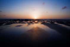 Porthtowan Beach at Sun down, Cornwall, Uk Royalty Free Stock Photography