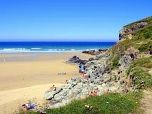 Porthtowan strand, Cornwall Arkivbild