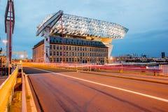 Porthus i Antwerpen Arkivfoto