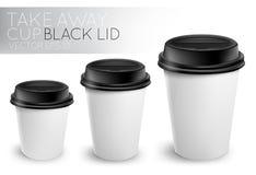 Porti via il berretto nero della tazza di carta Immagine Stock Libera da Diritti