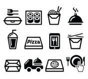 Porti via la scatola, icone del pasto messe Fotografia Stock Libera da Diritti