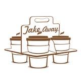 Porti via le tazze di caffè Fotografia Stock