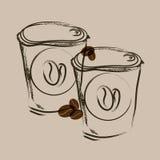Porti via lo schizzo di tiraggio della mano del caffè royalty illustrazione gratis