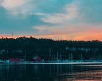 Porticciolo al tramonto fotografia stock