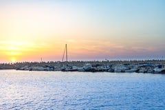 Porticciolo al tramonto l'israele Immagine Stock
