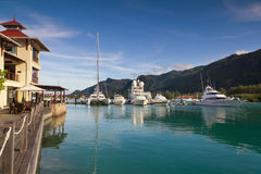 Porticciolo all'isola del Eden, Seychelles Fotografie Stock