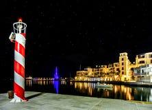 Porticciolo alla notte in Teodo, Montenegro di Oporto Montenegro fotografia stock