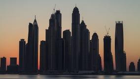 Porticciolo del Dubai della siluetta Immagini Stock Libere da Diritti