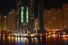 Porticciolo della Doubai alla notte Fotografia Stock Libera da Diritti