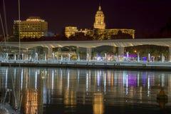 Porticciolo di Malaga alla notte Fotografia Stock Libera da Diritti