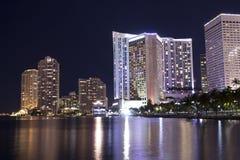 Porticciolo di Miami Bayside alla notte Fotografia Stock Libera da Diritti