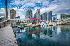 Porticciolo e costruzioni moderne al Harbourfront, a Toronto, Ontario Immagine Stock