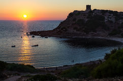 Porticciolo watch tower, Sardinia. Sunset near Porticciolo watch tower in Sardinia royalty free stock image