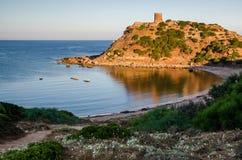 Porticciolo zegarka wierza w ranku, Sardinia Zdjęcia Stock
