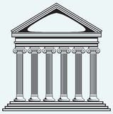 Portico an ancient temple. Bank Royalty Free Stock Photography