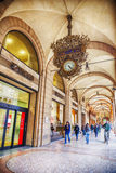 Portico and arcades in Bologna, Italy. 13 march 2015 Stock Photo