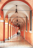 Portico and arcades in Bologna, Italy. Walking aria by arcades in Bologna, Italy Royalty Free Stock Photos
