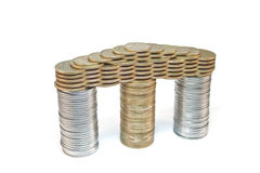 Portico of coins. A nice portico built from coins royalty free stock photo