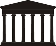 Portico (Colonnade), ancient temple. Illustration of architectural element - Portico (Colonnade), an ancient temple: black, isolated vector, white background Royalty Free Stock Photos