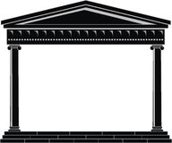 Portico (Colonnade), ancient temple. Illustration of architectural element - Portico (Colonnade), an ancient temple: black, isolated vector, white background Stock Image